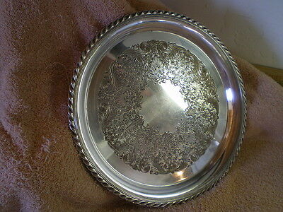 Silverplate Round Tray, Traditional Rogers #471