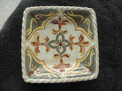 Artimino Tuscan Countryside Sienna Cream Scrolls Rope Trim Square Salad Plate