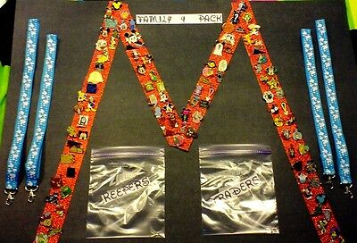 Disney Pins FAMILY 4 PACK receive 25 pin lot and 4 lanyards ready for Disney!