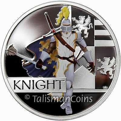 Perth Tuvalu 2010 Great Warriors #3 Medieval Knight $1 Pure Silver Dollar Proof