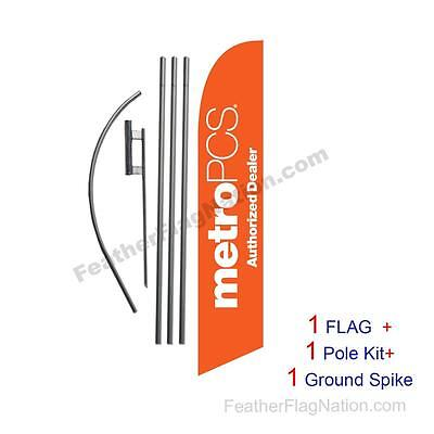 Orange MetroPCS Auth Dealer  Feather Banner Swooper Flag Kit with pole+spike