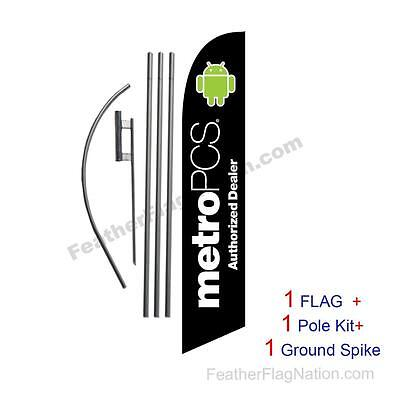 Black MetroPCS Auth Dealer  Feather Banner Swooper Flag Kit with pole+spike