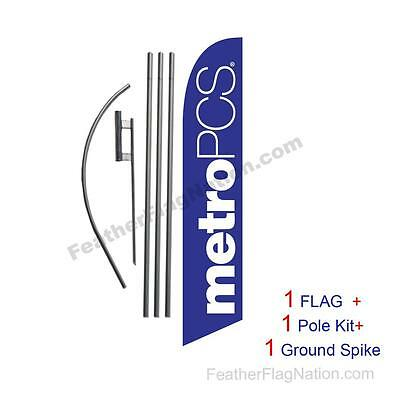 Purple MetroPCS Feather Banner Swooper Flag Kit with pole+spike
