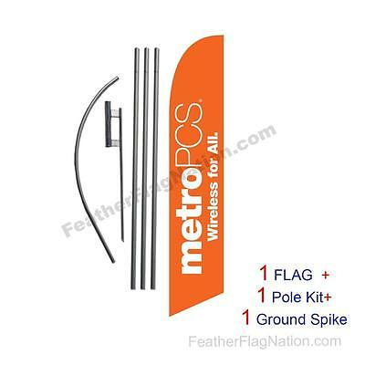 Orange MetroPCS WFA Feather Banner Swooper Flag Kit with pole+spike