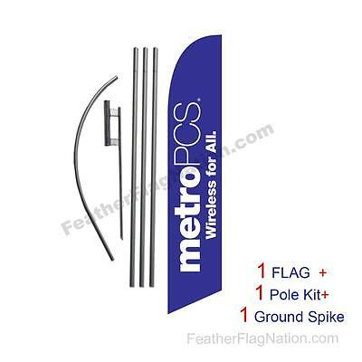 Purple MetroPCS WFA Feather Banner Swooper Flag Kit with pole+spike