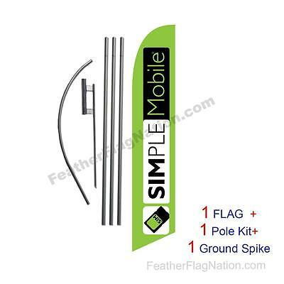 Lime SIMPLE Mobile Feather Banner Swooper Flag Kit with pole+spike
