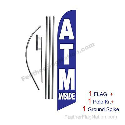 ATM Inside Feather Banner Swooper Flag Kit with pole+spike
