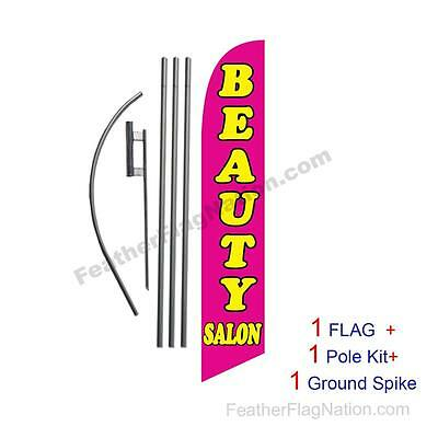 Beauty Salon Feather Banner Swooper Flag Kit with pole+spike