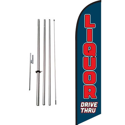 Drive-thru Liquor Feather Banner Swooper Flag Kit with pole+spike