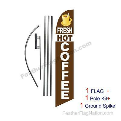 Fresh Hot Coffee Feather Banner Swooper Flag Kit with pole+spike