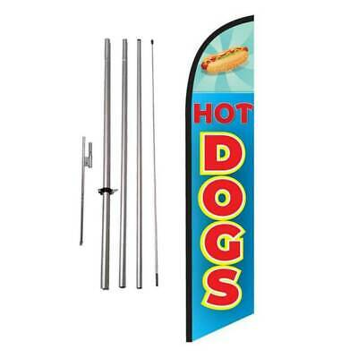 Hot Dogs Hotdogs Feather Banner Swooper Flag Kit with pole+spike