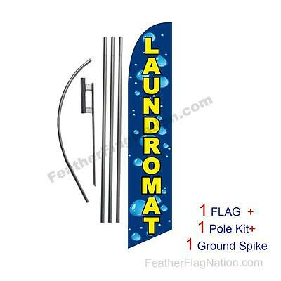 Laundromat Feather Banner Swooper Flag Kit with pole+spike