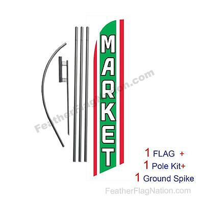 Market 15' Feather Banner Swooper Flag Kit with pole+spike