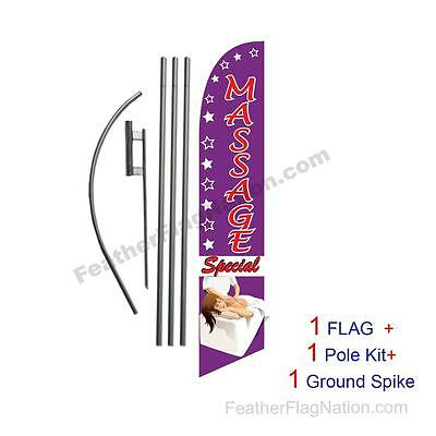 Massage Special 15' Feather Banner Swooper Flag Kit with pole+spike