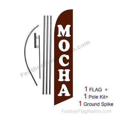 Mocha 15' Feather Banner Swooper Flag Kit with pole+spike