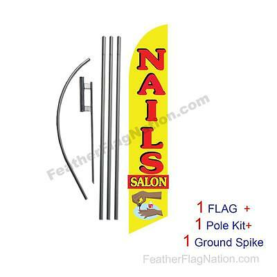 Nails Salon 15' Feather Banner Swooper Flag Kit with pole+spike