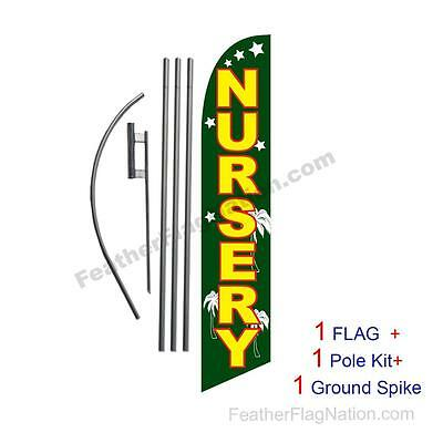 Nursery 15' Feather Banner Swooper Flag Kit with pole+spike
