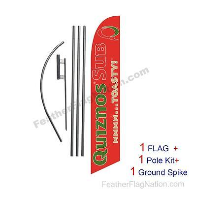 Red Quiznos Sub 15' Feather Banner Swooper Flag Kit with pole+spike