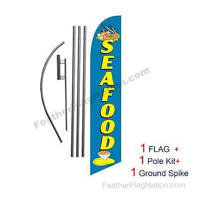 Seafood 15' Feather Banner Swooper Flag Kit with pole+spike