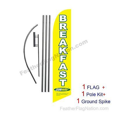 Yellow Subway Breakfast 15' Feather Banner Swooper Flag Kit with pole+spike