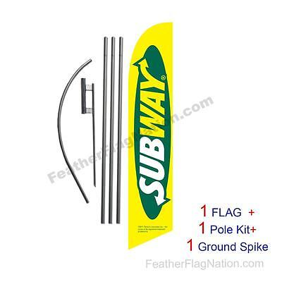 Subway 15' Feather Banner Swooper Flag Kit with pole+spike