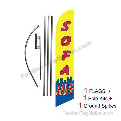 Yellow Sofa Sale 15' Feather Banner Swooper Flag Kit with pole+spike