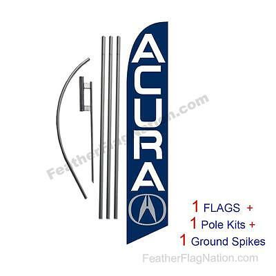 Custom ACURA 15' Feather Banner Swooper Flag Kit with pole+spike