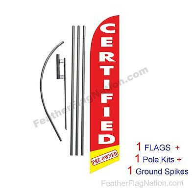 Red Certified Pre-Owned Cars 15' Feather Banner Swooper Flag Kit with pole+spike