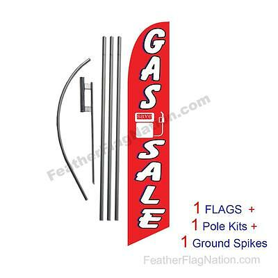 Gas Sale 15' Feather Banner Swooper Flag Kit with pole+spike