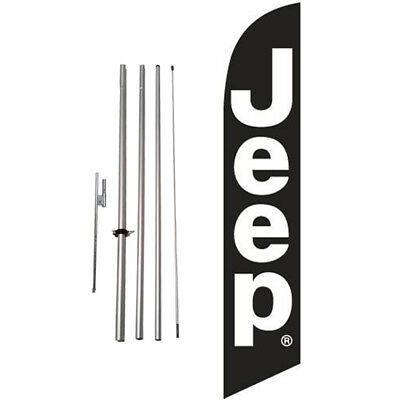 Custom Jeep (black) 15' Feather Banner Swooper Flag Kit with pole+spike