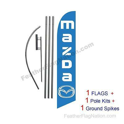 Custom Mazda 15' Feather Banner Swooper Flag Kit with pole+spike