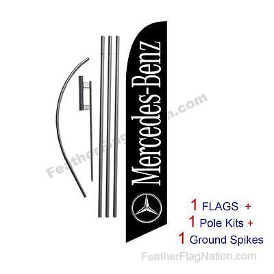 Custom black Mercedes-Benz 15' Feather Banner Swooper Flag Kit with pole+spike