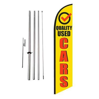 Quality Used Cars 15' Feather Banner Swooper Flag Kit with pole+spike
