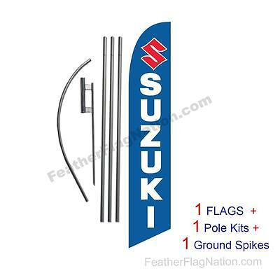Custom Suzuki 15' Feather Banner Swooper Flag Kit with pole+spike