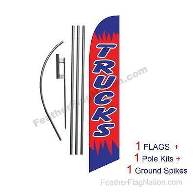 Trucks (red and blue) 15' Feather Banner Swooper Flag Kit with pole+spike