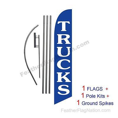 Trucks (blue) 15' Feather Banner Swooper Flag Kit with pole+spike