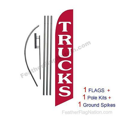 Trucks (red) 15' Feather Banner Swooper Flag Kit with pole+spike