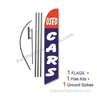 Used Cars (red & blue) 15' Feather Banner Swooper Flag Kit with pole+spike