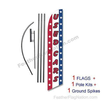 Used Cars (stars) 15' Feather Banner Swooper Flag Kit with pole+spike