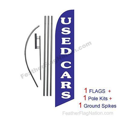 Used Cars (blue) 15' Feather Banner Swooper Flag Kit with pole+spike