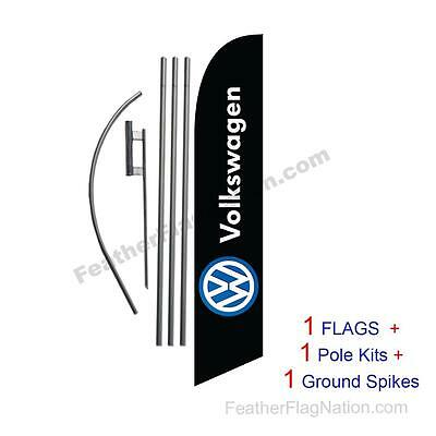 Volkswagen (black) 15' Feather Banner Swooper Flag Kit with pole+spike