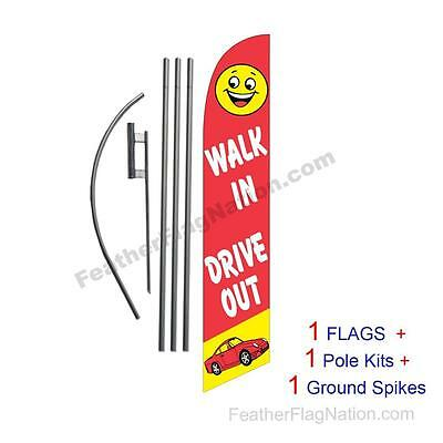 Walk in Drive Out 15' Feather Banner Swooper Flag Kit with pole+spike