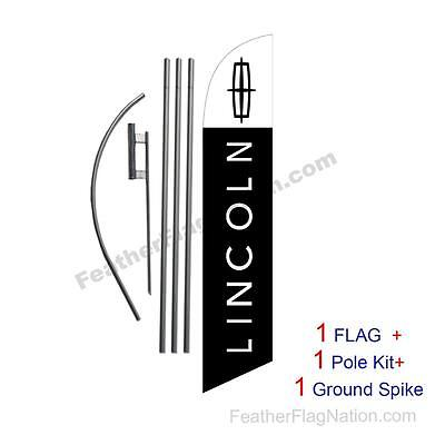 Custom LINCOLN 15' Feather Banner Swooper Flag Kit with pole+spike  (music)