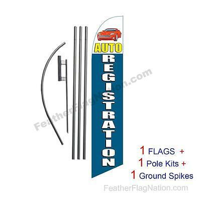 Auto Registration 15' Feather Banner Swooper Flag Kit with pole+spike  (music)