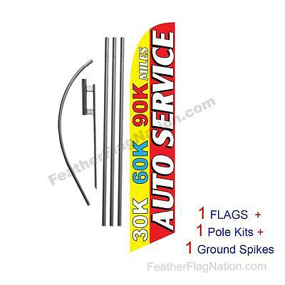 30K 60K 90K Auto Service 15' Feather Banner Swooper Flag Kit with pole+spike
