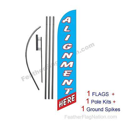 Alignment Here 15' Feather Banner Swooper Flag Kit with pole+spike