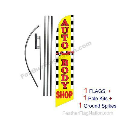 Auto Body Shop 15' Feather Banner Swooper Flag Kit with pole+spike