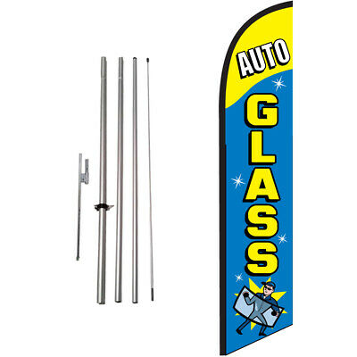 Auto Glass Here 15' Feather Banner Swooper Flag Kit with pole+spike
