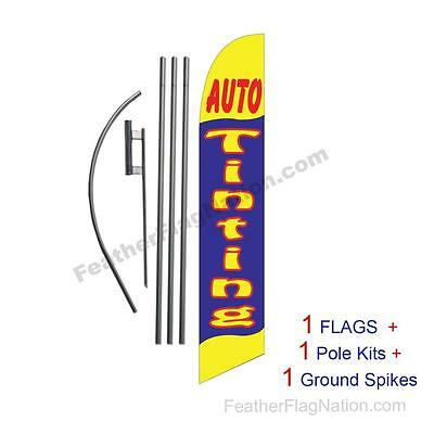 Auto Tinting (yellow/blue) 15' Feather Banner Swooper Flag Kit with pole+spike