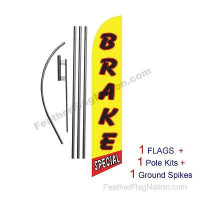Brake Special 15' Feather Banner Swooper Flag Kit with pole+spike